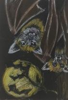 Day 11: Bat (wax crayon)